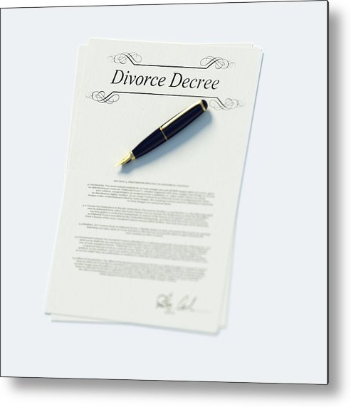 White Background Metal Print featuring the photograph Divorce Papers In English And Pen by Doug Armand