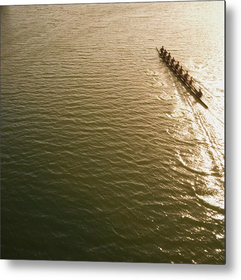 Sport Rowing Metal Print featuring the photograph Eight Person Rowing Team In Shell With by David Madison