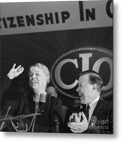 People Metal Print featuring the photograph Eleanor Roosevelt Speaking At Cio by Bettmann