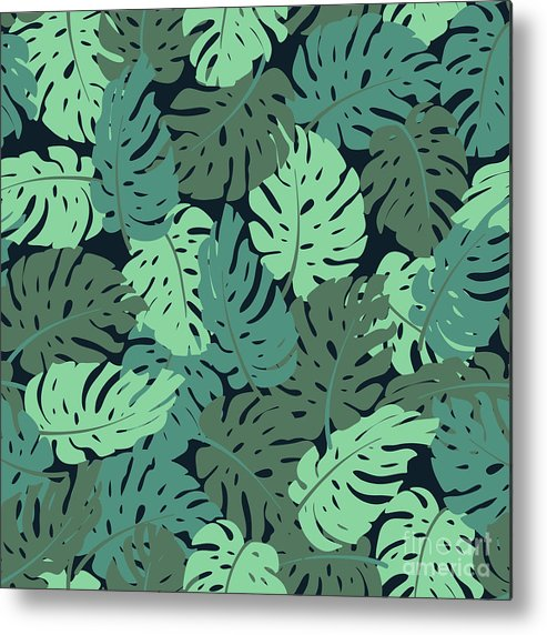 Art Metal Print featuring the digital art Exotic Leaves, Rainforest. Seamless by Utro na more