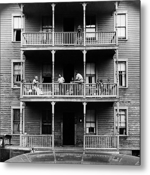 Timeincown Metal Print featuring the photograph Family On Balcony Of Apartment Building by Gordon Parks