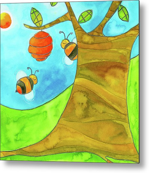 A Beehive Hanging From A Tree Metal Print featuring the mixed media Fpinf018 by Esteban Studio