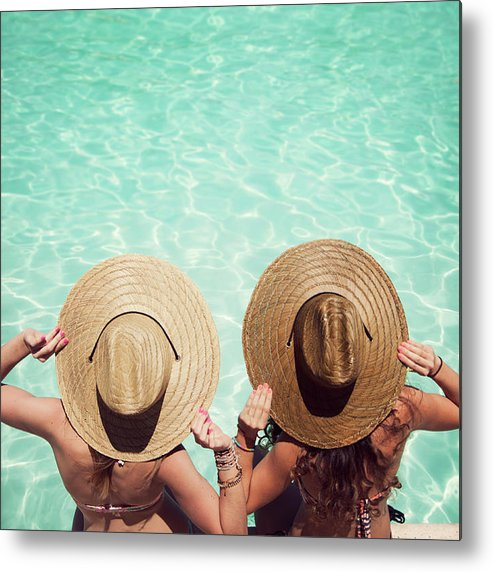 Fedora Metal Print featuring the photograph Friends By The Pool by Becon