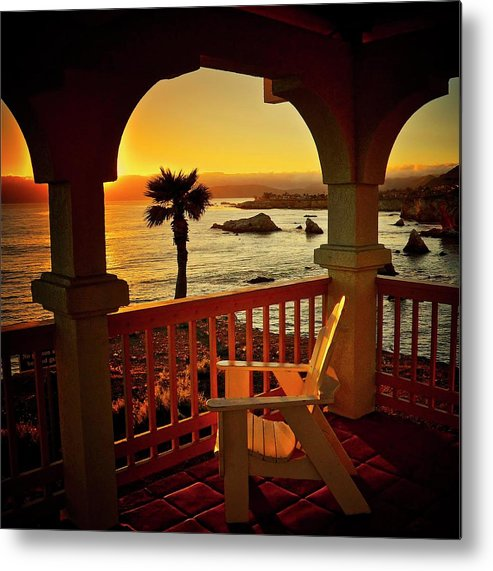 Nature Metal Print featuring the photograph Gazebo View of Central California Coast by Zayne Diamond Photographic