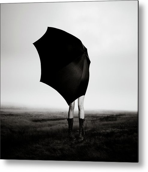 Child Metal Print featuring the photograph Girl With Umbrella by Eddie O'bryan