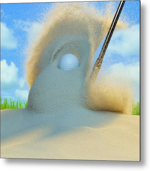 Drive Metal Print featuring the photograph Golf Ball Being Driven Out Of A Sand by Don Farrall