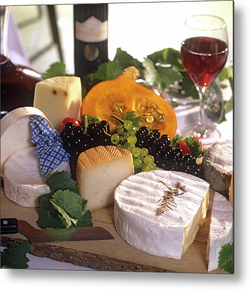 Cheese Metal Print featuring the photograph Gourmet Cheese Plate With Red Wine by Clu