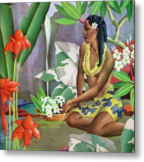 People Metal Print featuring the photograph Hawaiian Woman In Landscape by Graphicaartis