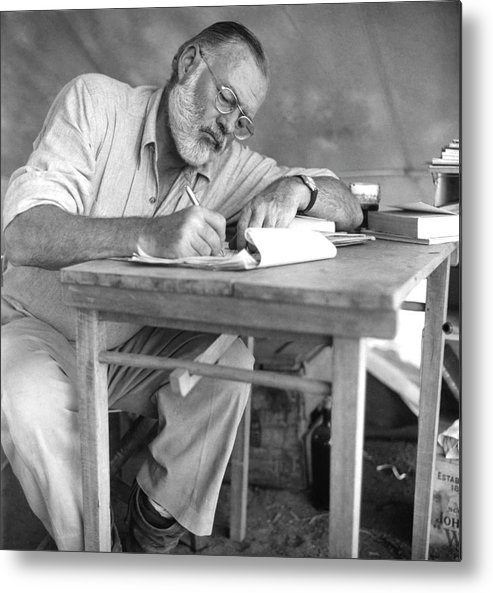 Working Metal Print featuring the photograph Hemingway On Safari by Earl Theisen Collection