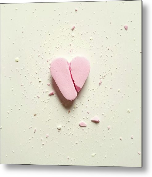 Unhealthy Eating Metal Print featuring the photograph High Angle View Of Broken Heart Shape by Wulf Voss / Eyeem