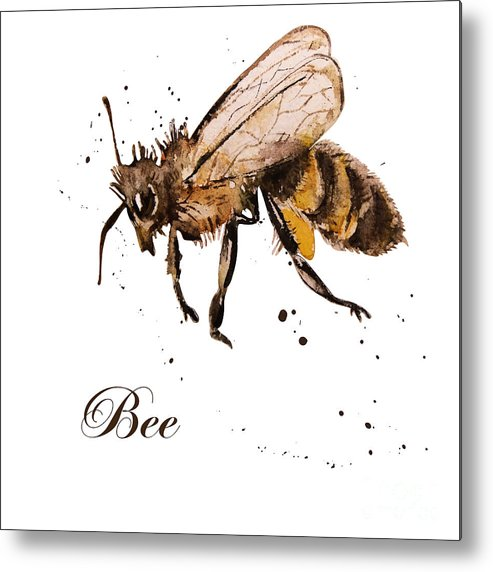 Antenna Metal Print featuring the digital art Honey Bee Watercolor Isolation by Knopazyzy