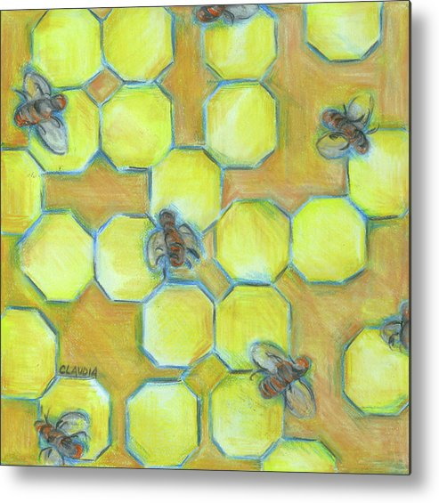 Honeycomb Metal Print featuring the painting Honeycomb by Claudia Interrante