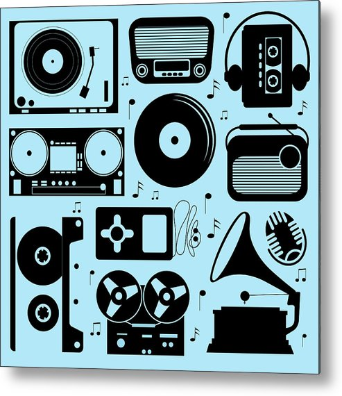Music Metal Print featuring the digital art Illustration Of Different Musical by Olillia