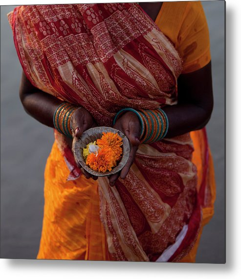 Hinduism Metal Print featuring the photograph Indian Woman Offering Puja For The by Selimaksan