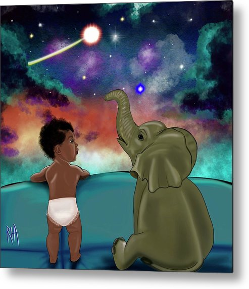 Elephant Metal Print featuring the painting Inspired by Artist RiA