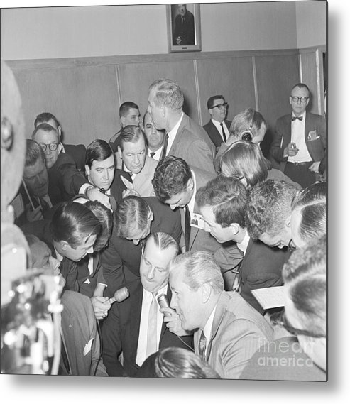 People Metal Print featuring the photograph Jack Ruby With Lawyer Outside Court by Bettmann