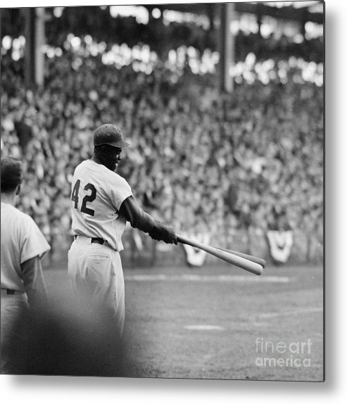 Sports Helmet Metal Print featuring the photograph Jackie Robinson At 1955 World Series by Robert Riger