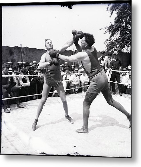 Crowd Of People Metal Print featuring the photograph Jess Willard With Walter Monahan by Bettmann