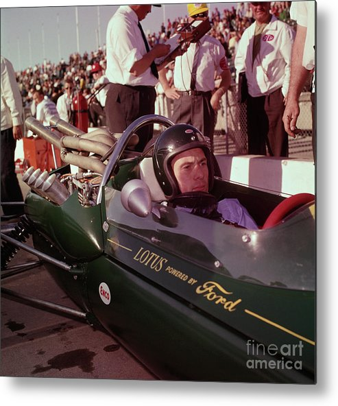 Crash Helmet Metal Print featuring the photograph Jim Clark In His Ford Lotus by Bettmann