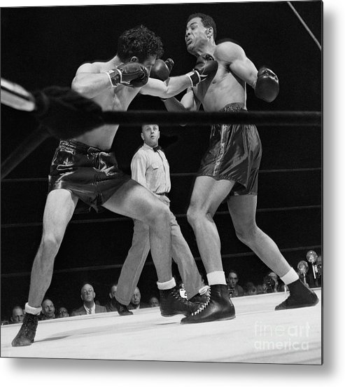 Mature Adult Metal Print featuring the photograph Joe Louis And Billy Conn In Boxing Match by Bettmann