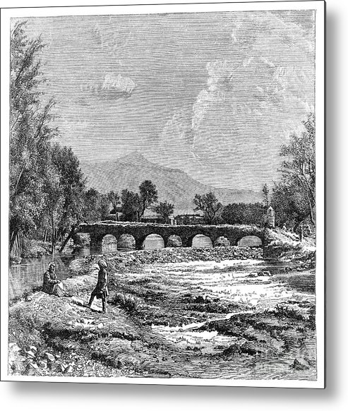 Engraving Metal Print featuring the drawing Kabul River, Afghanistan, 1895 by Print Collector