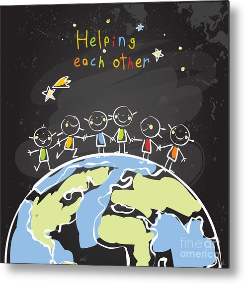 Trust Metal Print featuring the digital art Kids Helping Each Other, Global by Lavitrei