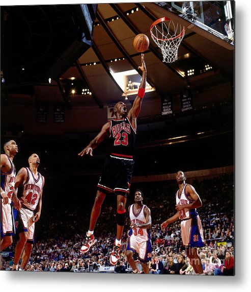 Chicago Bulls Metal Print featuring the photograph Michael Jordan Action Portrait by Nathaniel S. Butler