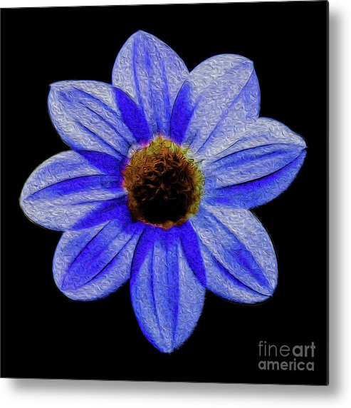 Floral Metal Print featuring the digital art Midnight Blues by Kenneth Montgomery