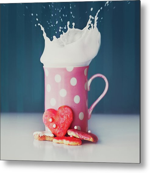 Milk Metal Print featuring the photograph Milk And Heart Shape Cookies by Julia Davila-lampe