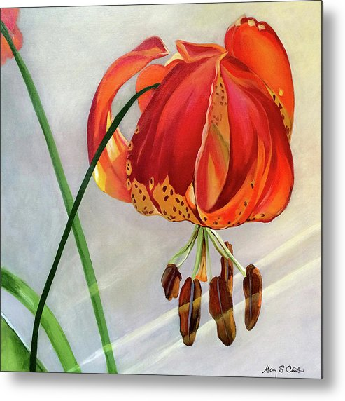 Painting Metal Print featuring the painting Moment in the Sun - Lily by Mary Chant