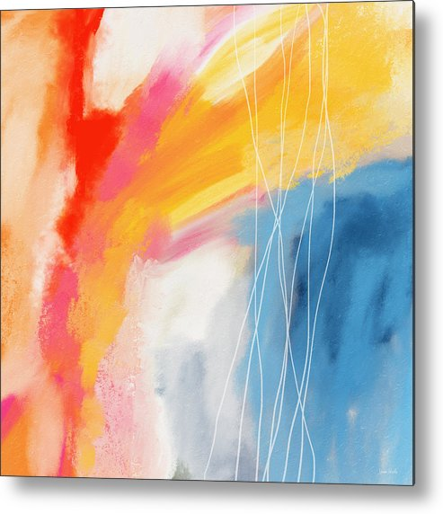 Abstract Metal Print featuring the mixed media Morning 2- Art by Linda Woods by Linda Woods