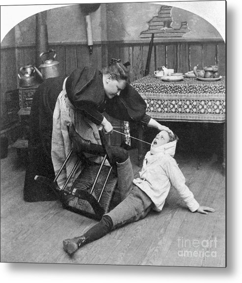 Child Metal Print featuring the photograph Mother Pulling Out Sons Bad Tooth by Bettmann