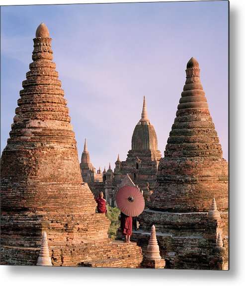 Child Metal Print featuring the photograph Myanmar, Bagan, Buddhist Monks On Temple by Martin Puddy
