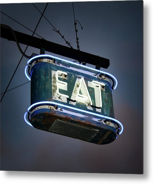 Hanging Metal Print featuring the photograph Neon Eat Sign by Kjohansen