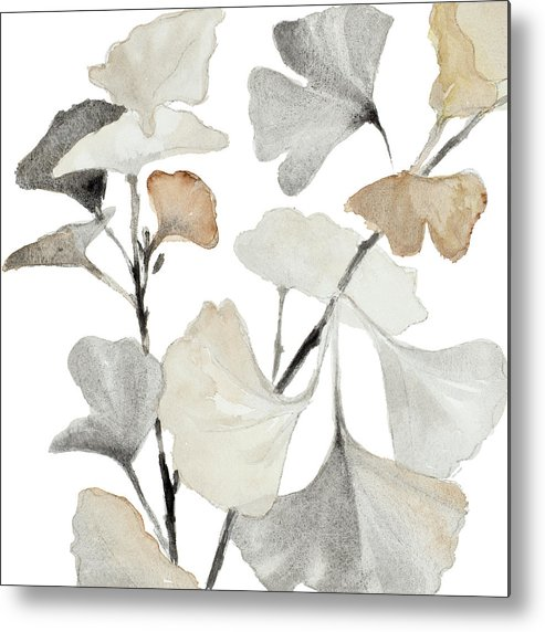 Neutral Metal Print featuring the painting Neutral Ginko Stems I by Lanie Loreth