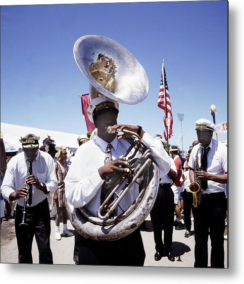 Music Metal Print featuring the photograph New Orleans Marching Band by David Redfern