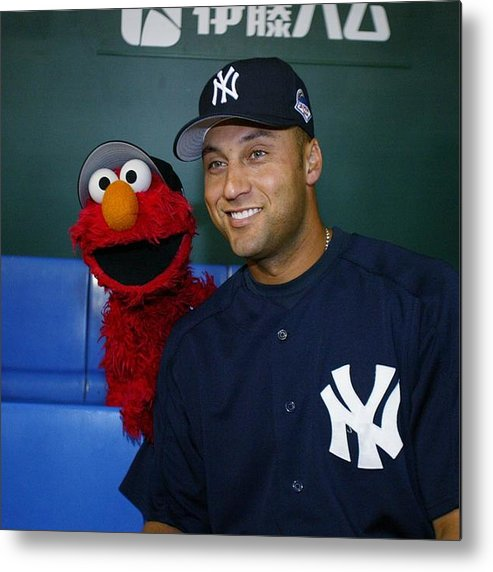 Derek Jeter Metal Print featuring the photograph New York Yankees Derek Jeter Relaxes In by New York Daily News Archive