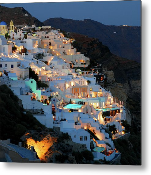 Tranquility Metal Print featuring the photograph Oia, Santorini Greece At Night by Marcel Germain