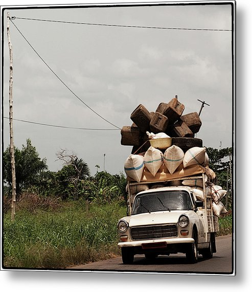 Transfer Print Metal Print featuring the photograph Overloaded Car by Rodriguez Art Work