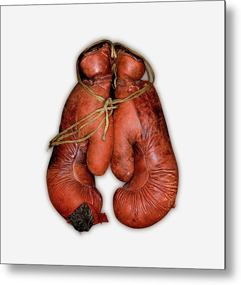 White Background Metal Print featuring the photograph Pair Of Boxing Gloves, Close-up by John Rensten