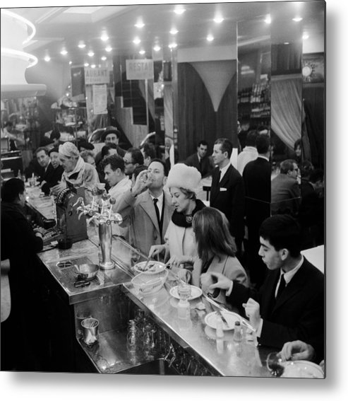 1950-1959 Metal Print featuring the photograph Paris Cafe by Three Lions