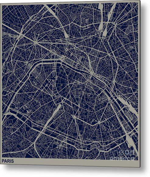 Rectangle Metal Print featuring the digital art Paris City Structure Illustration by Shuoshu