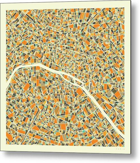 Paris City Map Metal Print featuring the digital art Paris Map 1 by Jazzberry Blue