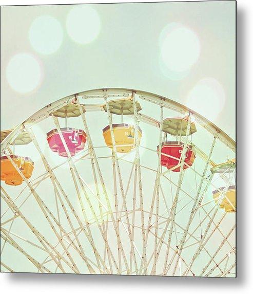 Hanging Metal Print featuring the photograph Pastel Ferris Wheel by Joyhey