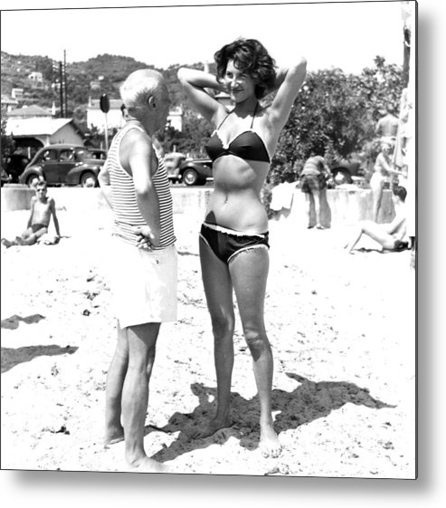 Artist Metal Print featuring the photograph Picasso And Bikini-clad Woman On The by Hulton Archive