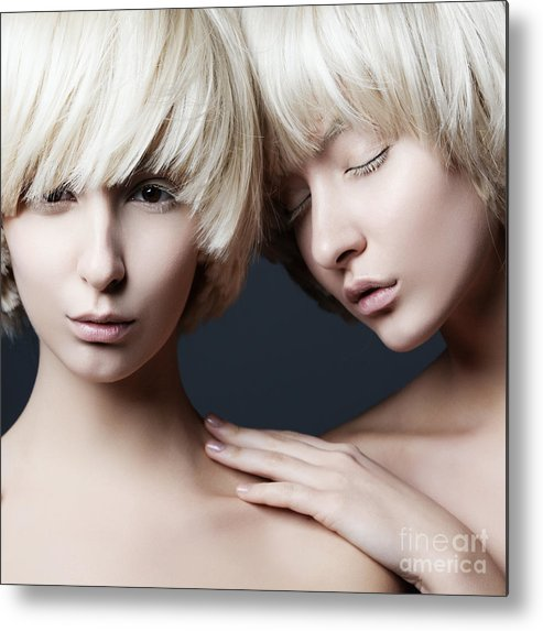 Makeup Metal Print featuring the photograph Portrait Of Two Young Beautiful Girls by Yuliya Yafimik