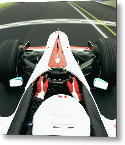 Aerodynamic Metal Print featuring the photograph Racing Driver Approaching Finishing by Alan Thornton