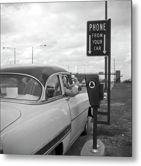 1950-1959 Metal Print featuring the photograph Roadside Public Telephone by Underwood Archives