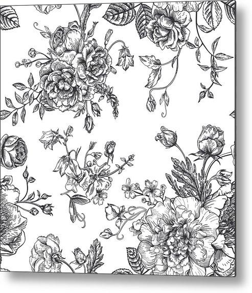 Art Metal Print featuring the digital art Seamless Pattern With Bouquet Of by Nata slavetskaya