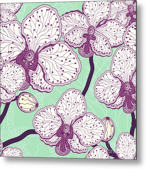 Vector Metal Print featuring the digital art Seamless Stylized Orchid Flower Pattern by Julietarts